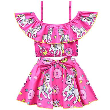 baratos Roupas de Banho para Meninas-Infantil Bébé Para Meninas Activo Estilo bonito Unicorn Estampado Laço Manga Curta Roupa de Banho Roxo