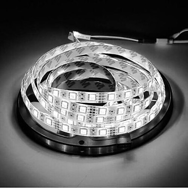 billige LED Strip Lamper-1pc rgb 300 led strip lys 5m 60leds / m smd5050 hvit varm hvit gul rød grønn blå led stripe 12v linkbar / selvklebende / tv bakgrunn vanntette fleksible bånd tau stripe