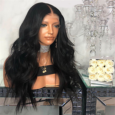 b81610ffb Human Hair Lace Wig kinky Straight Style Middle Part Lace Front Wig Dark  Brown Natural Black Synthetic Hair 26 inch Women's Women Dark Brown Wig  Long ...