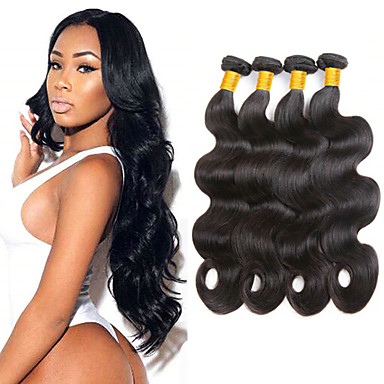 baratos Extensões de Cabelo Natural-4 pacotes Cabelo Brasileiro Onda de Corpo 100% Remy Hair Weave Bundles Cabelo Humano Ondulado Extensor Cabelo Bundle 8-28inch Côr Natural Tramas de cabelo humano Segurança Suave Fashion Extensões de