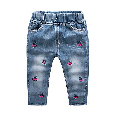 baratos Jeans Para Meninos-Infantil Para Meninos Activo Básico Geométrica Com Cordão Jeans Azul