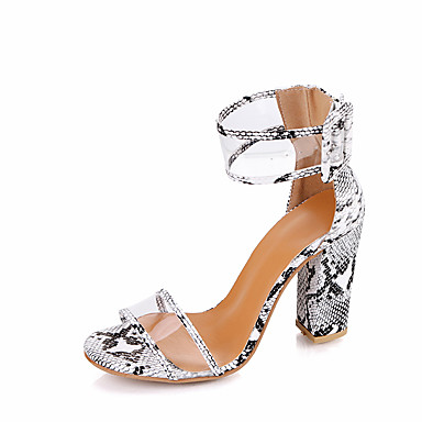 povoljno Ženske sandale-Žene Sandale Sandale s pete Kockasta potpetica PU Udobne cipele Ljeto Plava / Leopard / Burgundac / Poluga pete / EU39
