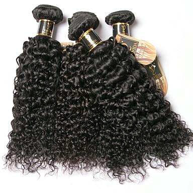baratos Extensões de Cabelo com Cor Natural-6 pacotes Cabelo Brasileiro Kinky Curly 100% Remy Hair Weave Bundles Cabelo Humano Ondulado Extensor Cabelo Bundle 8-28 polegada Côr Natural Tramas de cabelo humano Sem Cheiros Macio Grossa Extensões