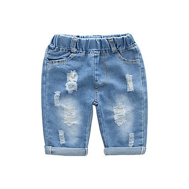 baratos Calças para Meninos-Infantil Para Meninos Básico Moda de Rua Sólido Com Corte Buraco rasgado Algodão Jeans Azul