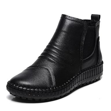 povoljno Ženske čizme-Žene Mekana koža Jesen zima Čizme Ravna potpetica Čizme gležnjače / do gležnja Crn / Crvena / Deva