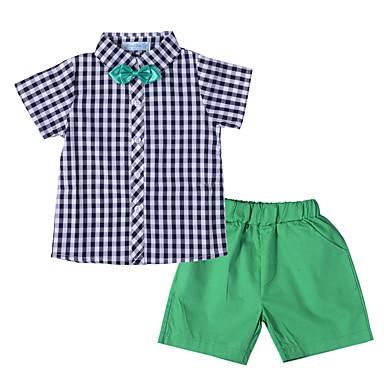 baratos Conjuntos para Meninos-Infantil Bébé Para Meninos Activo Moda de Rua Sólido Quadriculada Laço Manga Curta Curto Curto Algodão Conjunto Verde