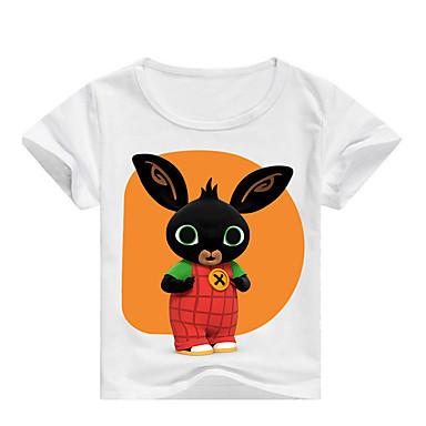 baratos Camisas para Meninos-Infantil Para Meninos Básico Estampado Estampado Manga Curta Algodão Camiseta Rosa