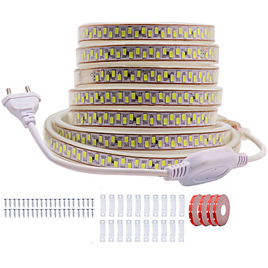 billige LED Strip Lamper-kwb 20m glans dekor led stripelys 220v fleksible vanntette taulamper 5730 10mm 3600 lys for innendørs utendørs omgivelses kommersiell belysning dekorasjon
