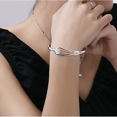 abordables Bracelet-Manchettes Bracelets Femme Plaqué argent Fleur Précieux Elégant Basique Bracelet Bijoux Argent pour Quotidien Travail
