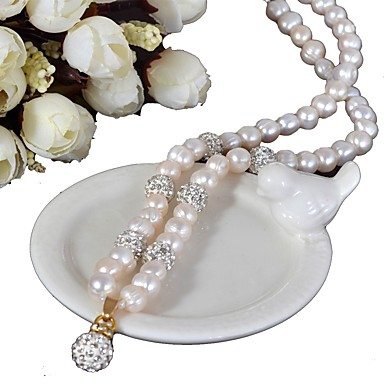 voordelige Dames Sieraden-zoetwaterparel klassieke halsketting - strass, parel gezegende mode, glamour, retro / vintage wit voor avondfeest cadeau dames