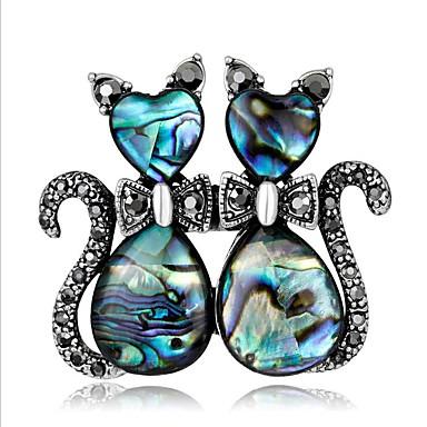 abordables Bijoux & Montres-Femme Géométrique Broche Chat Elégant Dessin Animé Broche Bijoux Bleu Pour Mariage Festival