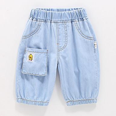 baratos Jeans Para Meninos-Infantil Para Meninos Activo Básico Sólido Retalhos Patchwork Bordado Algodão Jeans Azul