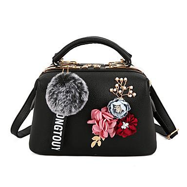 abordables Sacs-Femme Fleur / Pom pom PU / Alliage Cabas A Fleur Rose Claire / Gris / Kaki / Automne hiver