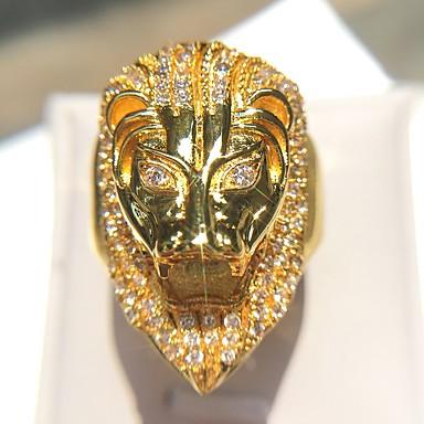 abordables Bague-Bague Fantaisie Grosse Homme Zircon Clair Le style rétro Imitation Diamant Lion Rock Bagues Tendance Bijoux Dorée Cool pour Soirée 1pc