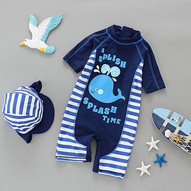 povoljno Kupaći za dječake-Djeca Dječaci Prugasti uzorak Pamuk Kupaći kostim Plava