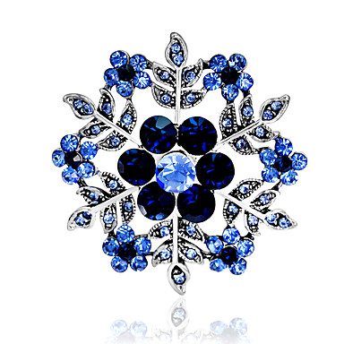 baratos Broches-Mulheres Broches Floco de Neve Estiloso Strass Chapeado Dourado Broche Jóias Roxo Azul Para Festa Diário