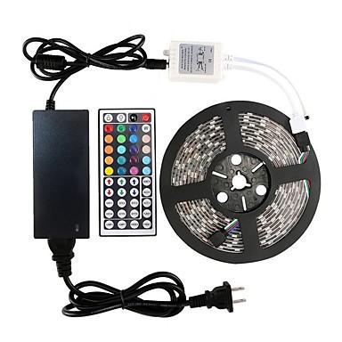 billige LED Strip Lamper-1 sett led strip lights kit dc12v strømforsyning smd 5050 16,4 ft (5m) 300leds rgb 60leds / m med 44key ir fjernkontroll for kicthen soverom stue og utendørs eu au uk oss plug