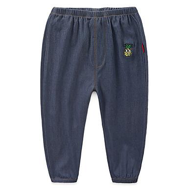 baratos Jeans Para Meninos-Infantil Para Meninos Básico Moda de Rua Fruta Bordado Algodão Jeans Azul