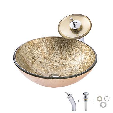 Koupelnový dřez / Montážní kroužek do koupelny / Koupelnový odtok vody Moderní - Tvrzené sklo Kulatý