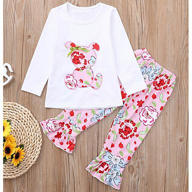 79cbb4a10442 Χαμηλού Κόστους Σετ ρούχων για κορίτσια-Παιδιά / Νήπιο Κοριτσίστικα Βασικό  Φλοράλ / Κινούμενα σχέδια