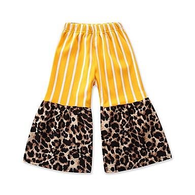 baratos Calças & Leggings para Meninas-Infantil Bébé Para Meninas Activo Básico Listrado Leopardo Patchwork Estampado Algodão Calças Amarelo