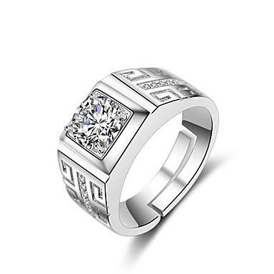 voordelige Herensieraden-Heren manchet Ring Open Ring Verstelbare ring 1pc Zilver Messinki Strass Verzilverd Vierkant Stijlvol Eenvoudig Dagelijks Werk Sieraden Klassiek Kostbaar Cool