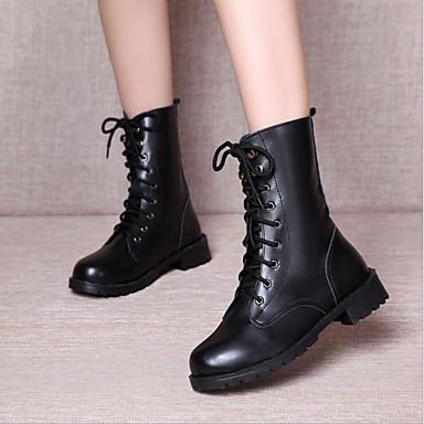 povoljno Ženske cipele-Žene Poliester Proljeće Čizme Niska potpetica Okrugli Toe Čizme gležnjače / do gležnja Crn