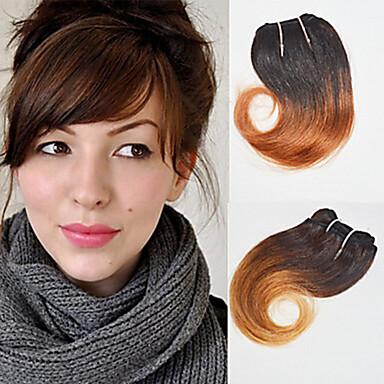 baratos Extensões de Cabelo Natural-4 pacotes Cabelo Brasileiro Ondulado Cabelo Humano Âmbar 8 polegada Tramas de cabelo humano Extensões de cabelo humano