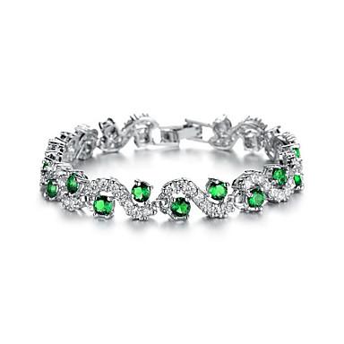 abordables Bracelet-Chaînes Bracelets Femme Zircon cubique Plaqué or Etoile Mode Bracelet Bijoux Blanc Vert Bleu Forme Géométrique pour Soirée Quotidien