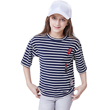 baratos Blusas para Meninas-Infantil Para Meninas Activo Básico Listrado Manga Curta Algodão Camiseta Azul