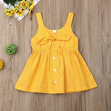 b8b4d610ffc Μωρό Κοριτσίστικα Μπόχο Πουά Φιόγκος Αμάνικο 80-90 cm Βαμβάκι Φόρεμα Κίτρινο