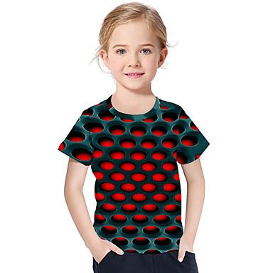 baratos Blusas para Meninas-Infantil Bébé Para Meninas Activo Básico Geométrica Estampado Estampado Manga Curta Camiseta Vermelho