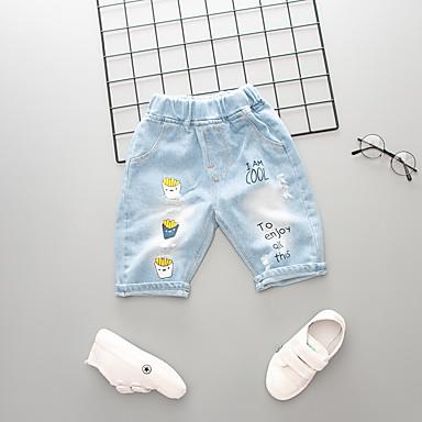 baratos Jeans Para Meninos-Infantil Para Meninos Activo Básico Sólido Estampado Estampado Algodão Jeans Azul
