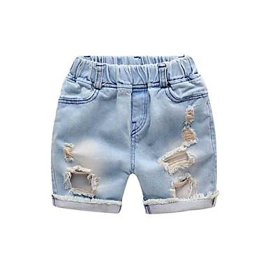 baratos Calças para Meninos-Infantil Para Meninos Activo Básico Sólido Com Corte Buraco rasgado Algodão Jeans Azul