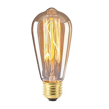 abordables Ampoules électriques-1pc 40 W E26 / E27 ST58 Blanc Chaud 2300 k Rétro / Intensité Réglable / Décorative Ampoule incandescente Edison Vintage 220-240 V