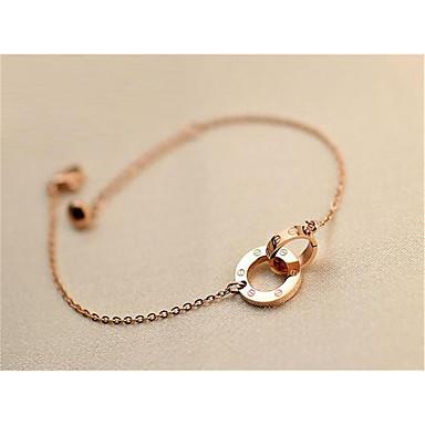 abordables Bracelet-Bracelet Pendentif Femme Classique Plaqué Or Rose Béni Elégant Bracelet Bijoux Or Rose Rond pour Cadeau Quotidien