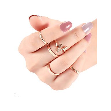 voordelige Herensieraden-Heren Dames Ring Set Midiringen Stapelbare ringen 5 stuks Goud Zilver Legering Punk modieus Modieus Dagelijks Straat Sieraden meetkundig Hartritme Cool