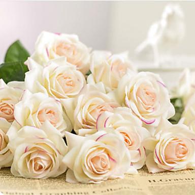 פרחים מלאכותיים 1 ענף קלאסי חתונה ארופאי ורדים פרחים נצחיים פרחים לשולחן