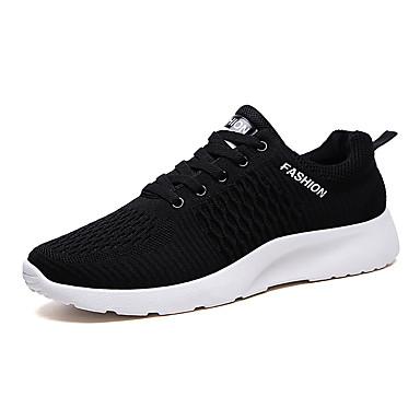 בגדי ריקוד גברים נעלי נוחות בד גמיש / Tissage וולנט אביב קיץ ספורטיבי נעלי אתלטיקה ריצה ללא החלקה קולור בלוק שחור לבן / שחור אדום