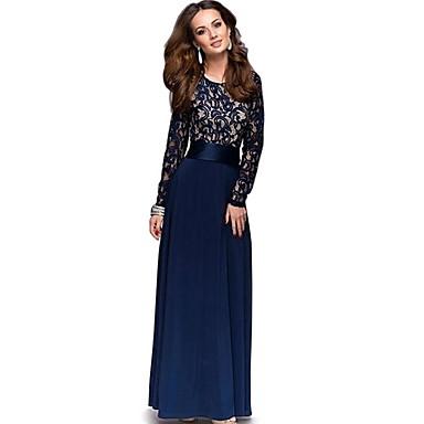 לבוש מסורתי ותרבותי שמלות בגדי ריקוד נשים לבוש יומיומי תחרה תחרה שרוול ארוך שמלה