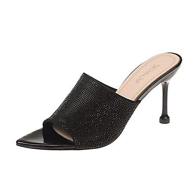 hesapli Kadın Terlikleri-Kadın's Terlik & Flip-flops Konforlu Ayakkabılar Minik Topuk Payet PU Günlük Yaz Siyah / Açık Pembe