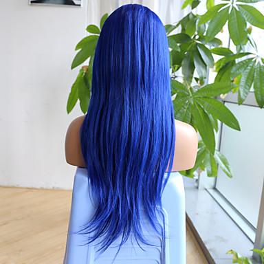 abordables Perruques Naturelles Dentelle-Perruque Cheveux Naturel humain 6x13 Fermeture Cheveux Brésiliens Droite naturelle Bleu Coupe Asymétrique Séparation profonde Partie libre 150% avec des cheveux de bébé Ligne de Cheveux Naturelle
