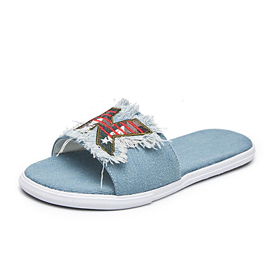 voordelige Damespantoffels & slippers-Dames Slippers & Flip-Flops Leren schoenen Platte hak Ronde Teen Denim Informeel / minimalisme Lente zomer Blauw / leuze