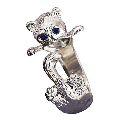 בגדי ריקוד נשים טבעת פתח את הטבעת Pussy טבעות זירקונה מעוקבת 1pc לבן סגסוגת Geometric Shape מסוגנן פאר Party מתנה תכשיטים קלאסי חתול מגניב