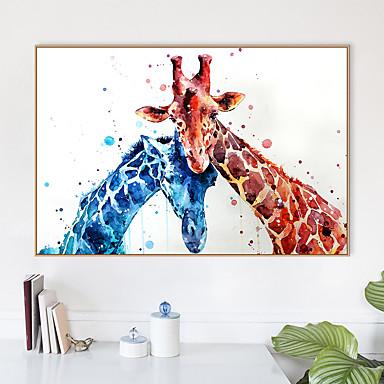 povoljno Ukrašavanje zidova-Uokvireni print Uokvireno platno Printevi - Sažetak Životinje Polistiren Oil Painting Wall Art