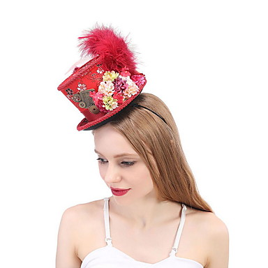 お買い得  パーティー用ヘッドピース-シルク / 羽毛 帽子 とともに フェザー / レース / トリム 1個 結婚式 / パーティー/フォーマル かぶと