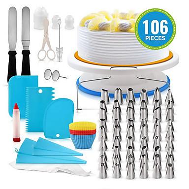 halpa Leivontavälineet-100kpl Silikoni Muovi Ruostumaton teräs Monikäyttö DIY Kakku Cookie Monikäyttö Leivontatarvikkeet Bakeware-työkalut