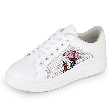 בגדי ריקוד נשים נעלי ספורט שטוח בוהן עגולה PU יום יומי / מתוק ריצה / הליכה סתיו / אביב קיץ כחול / ורוד