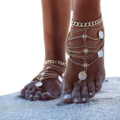voordelige Dames Sieraden-Dames Blote voeten sandalen Enkelband Munt Eenvoudig Casual / Sporty Modieus Enkelring Sieraden Goud / Zilver Voor Dagelijks Carnaval Straat Feestdagen