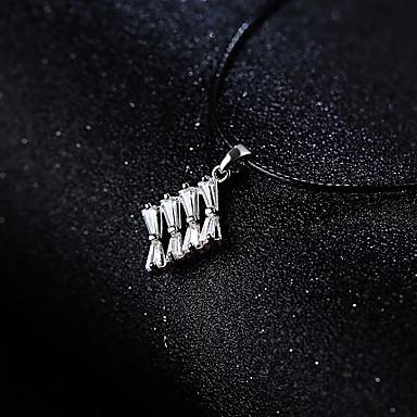 billige Halskjeder-Dame Sølv Kubisk Zirkonium Anheng Halskjede Zirkonium Sølv 36 cm Halskjeder Smykker 1pc Til Bryllup Daglig
